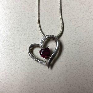 Lab Ruby and sapphire heart necklace .925